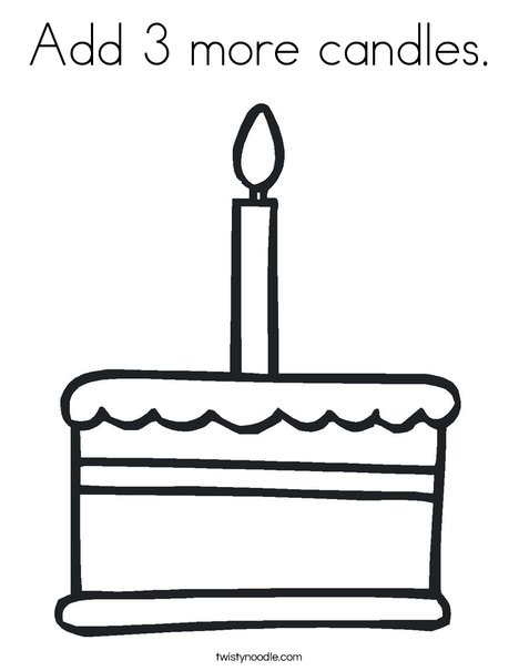 Add 3 more candles Coloring Page Twisty Noodle