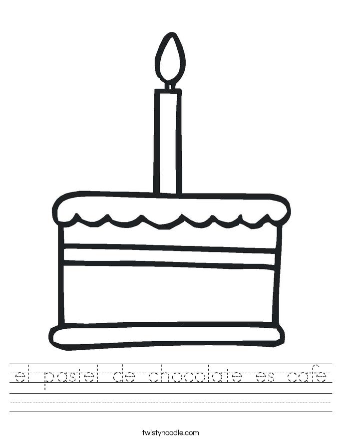 el pastel de chocolate es cafe Worksheet