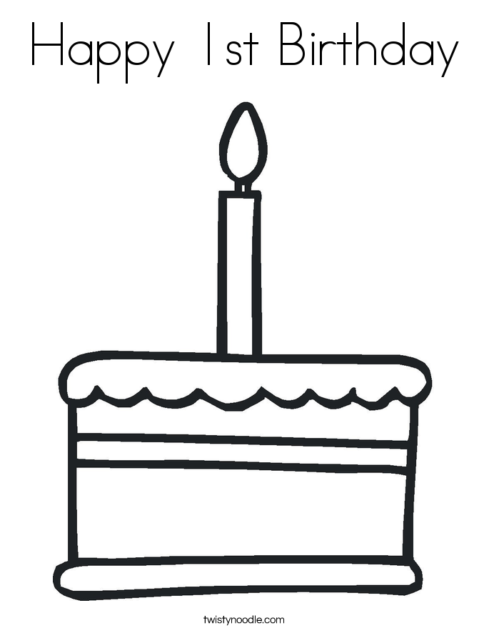 happy 1st birthday coloring page - Birthday Cake Coloring Pages