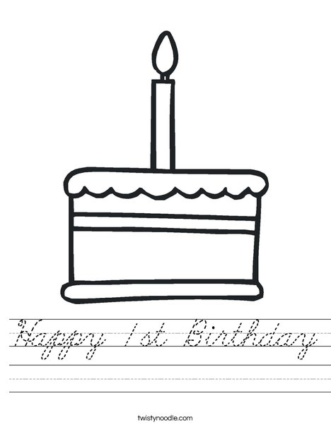 Cake with one candle Worksheet