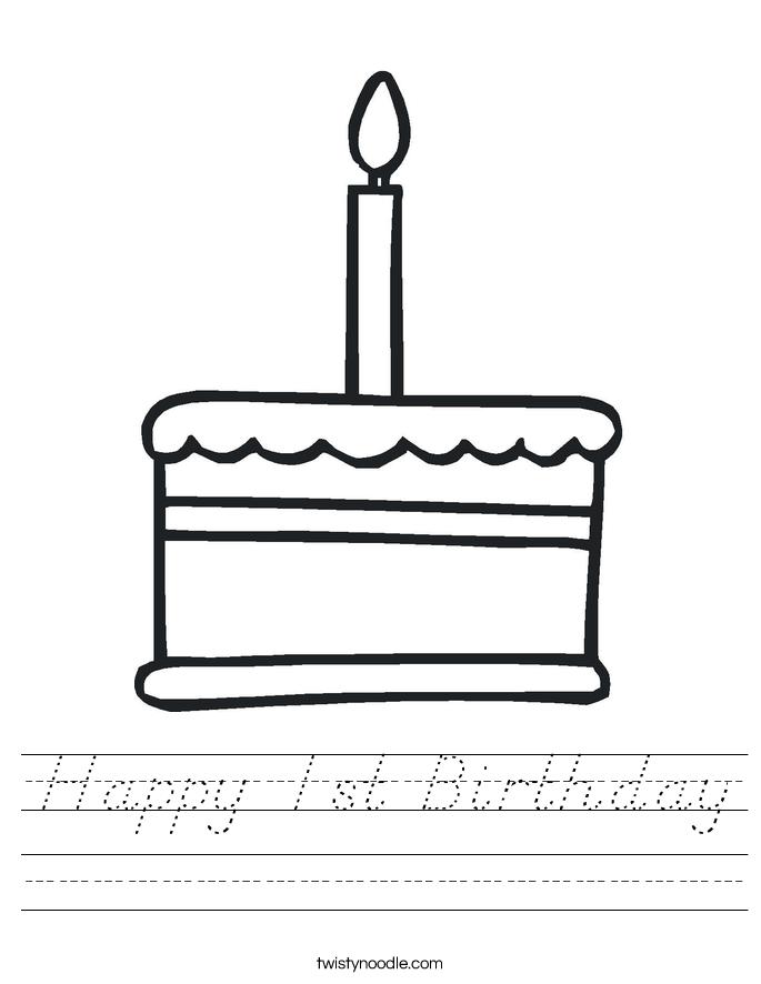 Happy 1st Birthday Worksheet