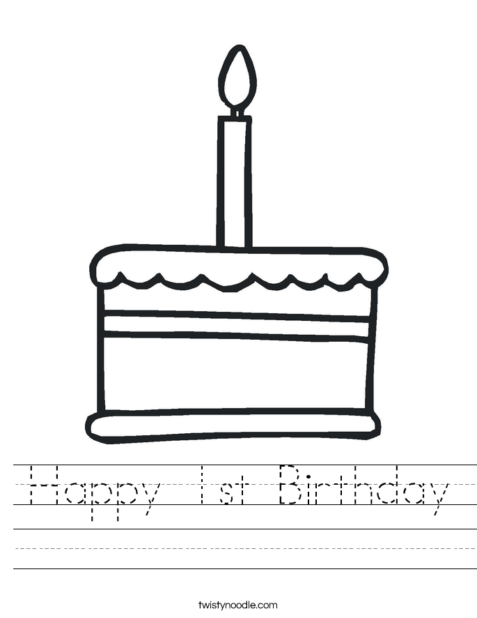 Happy 1st Birthday Worksheet