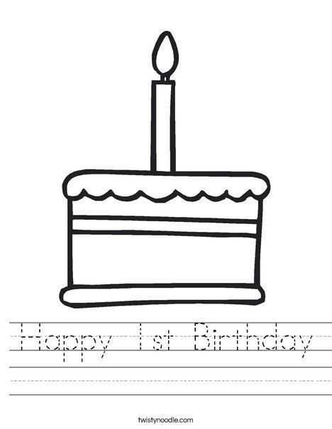 Happy 1st Birthday Worksheet - Twisty Noodle