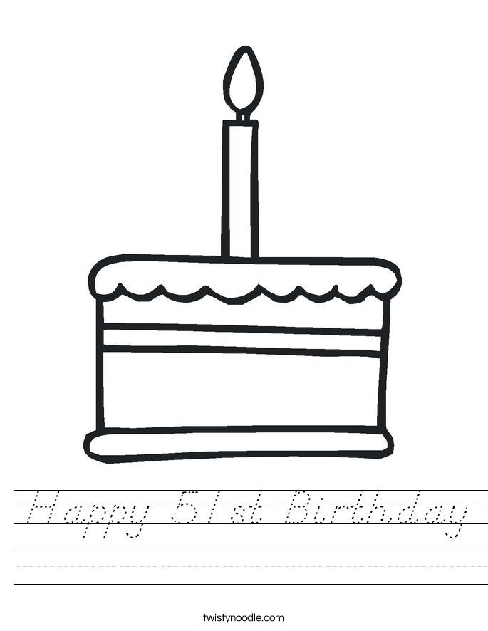 Happy 51st Birthday Worksheet