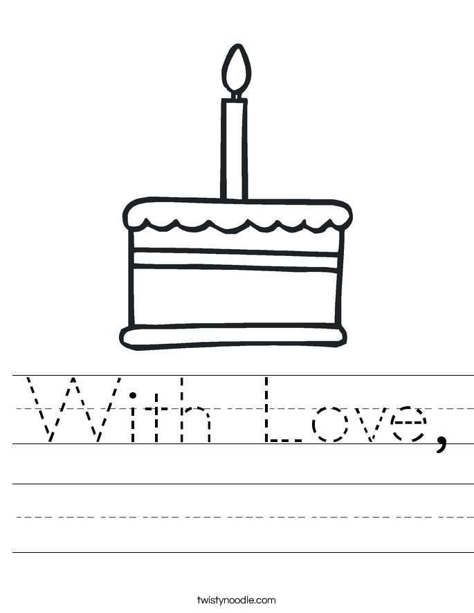 With Love, Worksheet