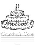 Grandma's Cake Worksheet