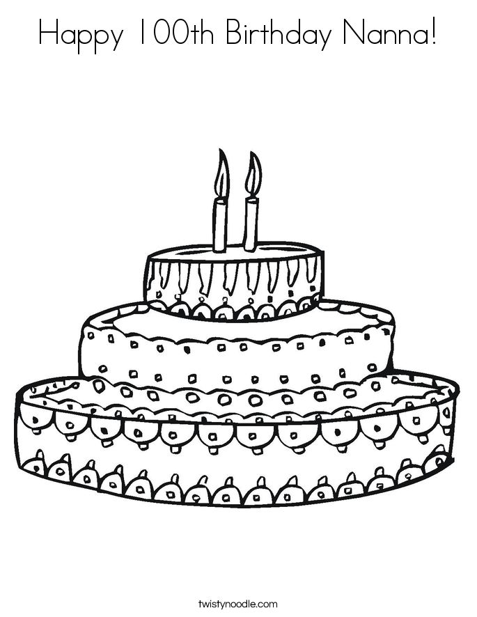 Happy 100th Birthday Nanna! Coloring Page