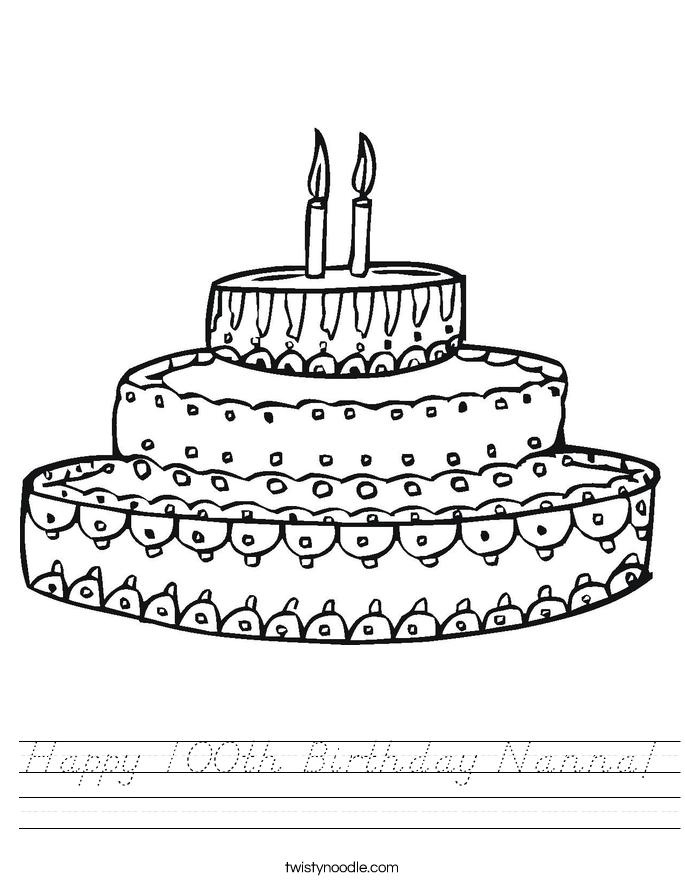 Happy 100th Birthday Nanna! Worksheet