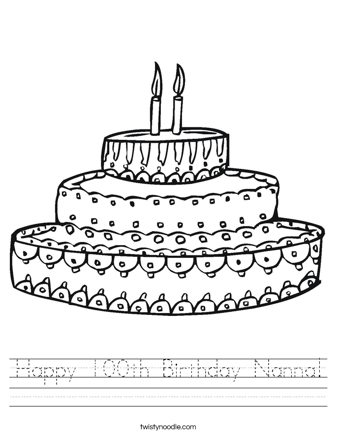 Happy 100th Birthday Nanna! Worksheet