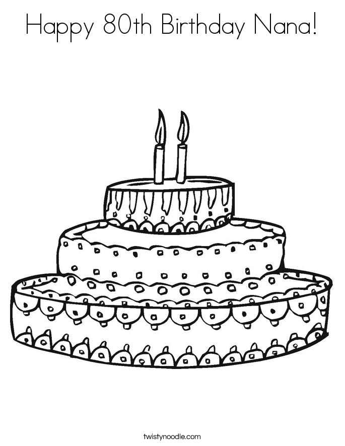 Happy 80th Birthday Nana! Coloring Page