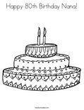 Happy 80th Birthday Nana!Coloring Page