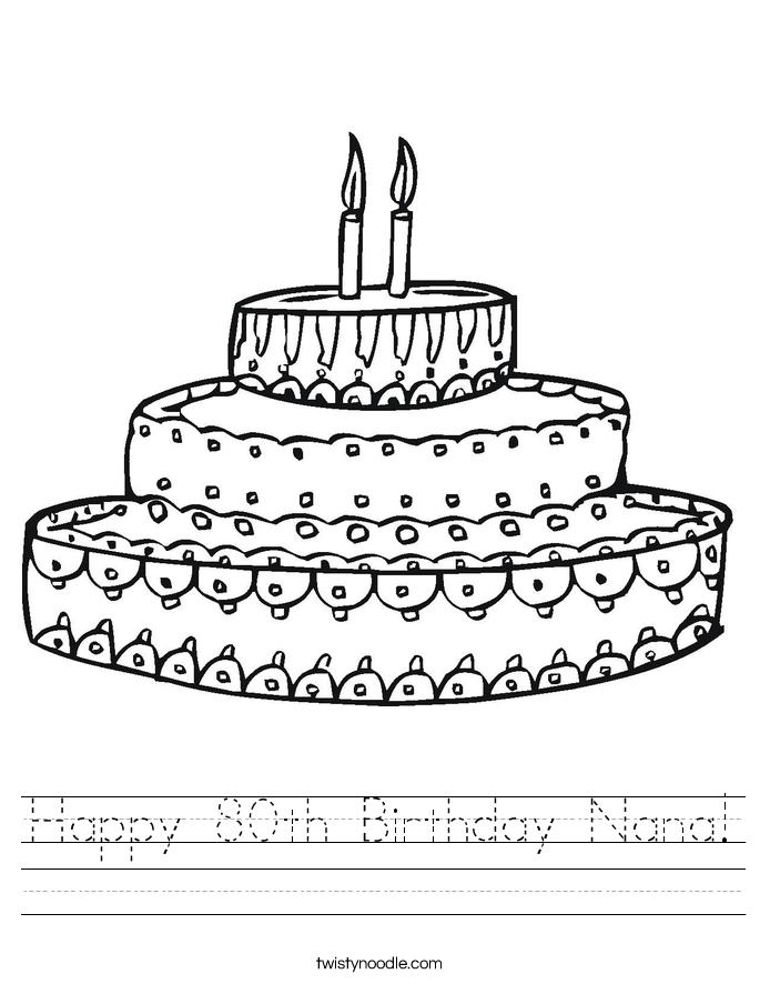 Happy 80th Birthday Nana! Worksheet