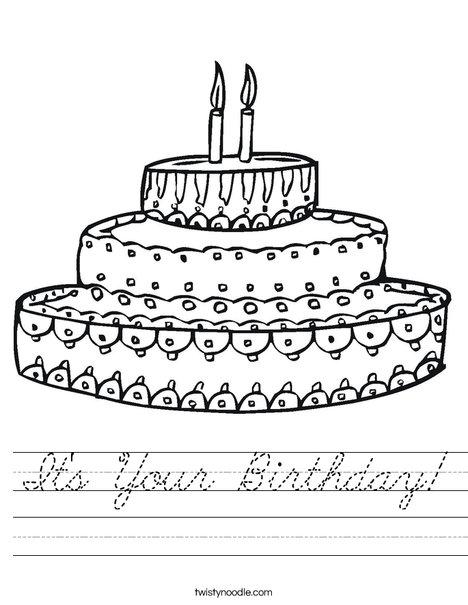 It's Your Birthday Worksheet - Cursive - Twisty Noodle