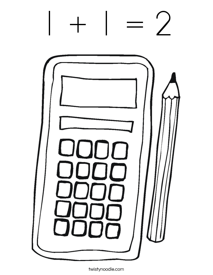 1 + 1 = 2 Coloring Page