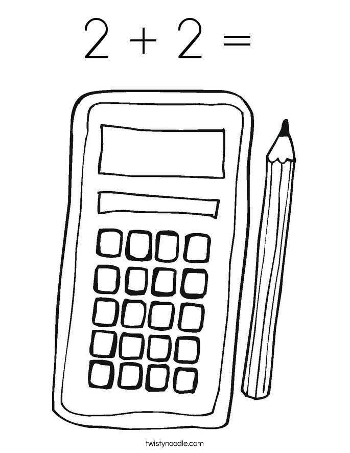 2 + 2 =  Coloring Page