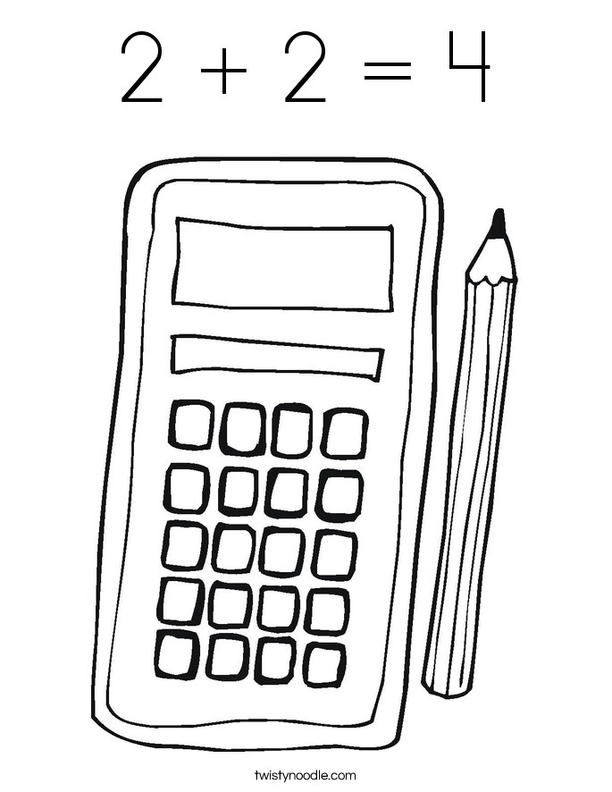 2 + 2 = 4 Coloring Page