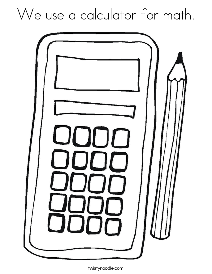 10 ticks calculator coloring book pages | We use a calculator for math Coloring Page - Twisty Noodle