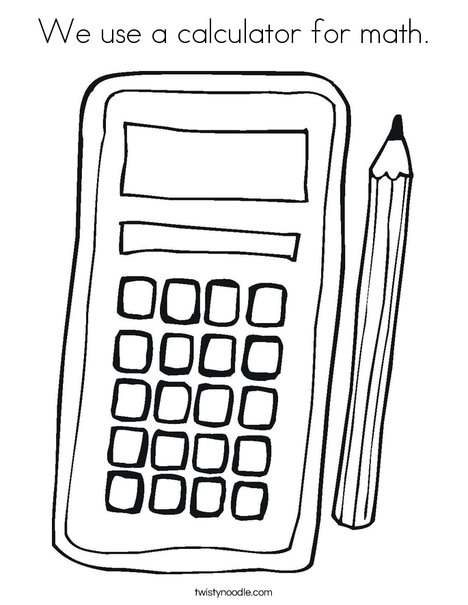 We use a calculator for math Coloring Page - Twisty Noodle