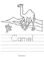 Camel Handwriting Sheet
