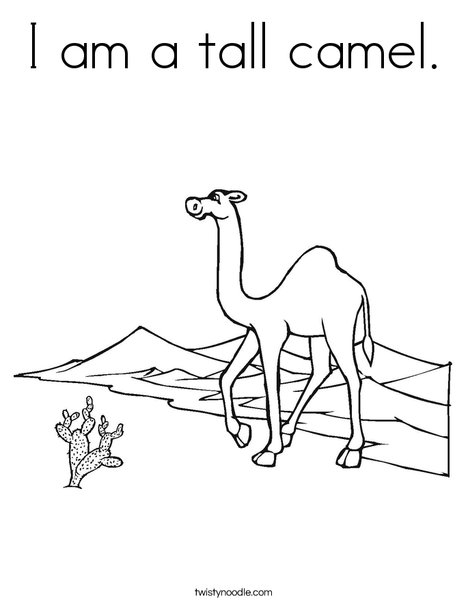 I am a tall camel Coloring Page Twisty Noodle