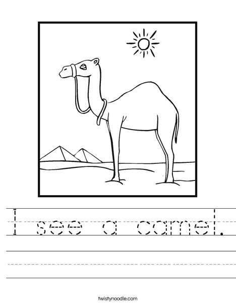 Camel Standing in the Desert Worksheet