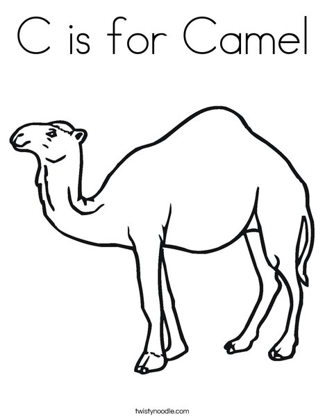 C is for Camel Coloring Page - Twisty Noodle