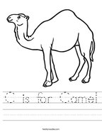 C is for Camel Handwriting Sheet