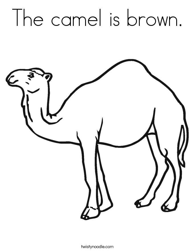 The camel is brown. Coloring Page