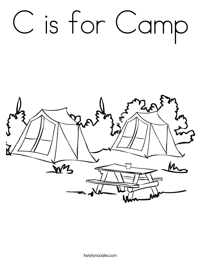 C is for Camp Coloring Page