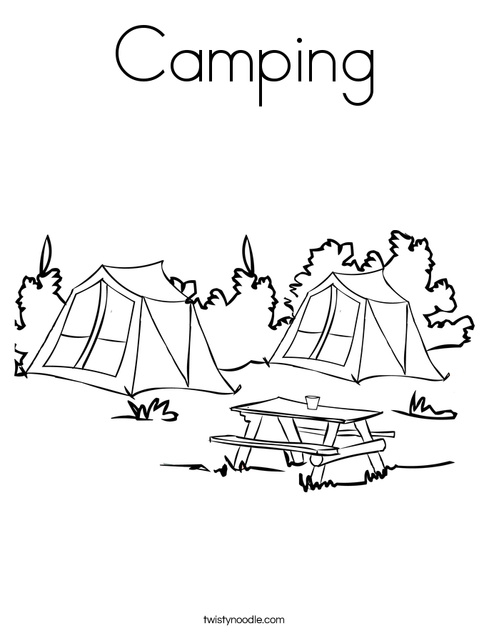 camping coloring page girl hiking coloring page