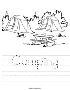 Camping Handwriting Sheet