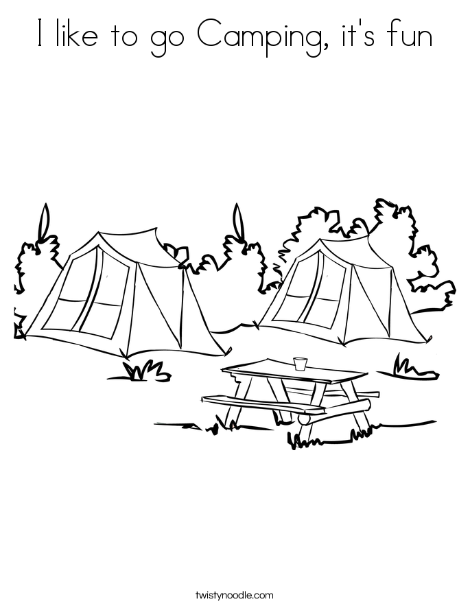 I like to go Camping, it's fun Coloring Page