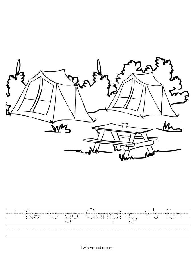 I like to go Camping, it's fun Worksheet