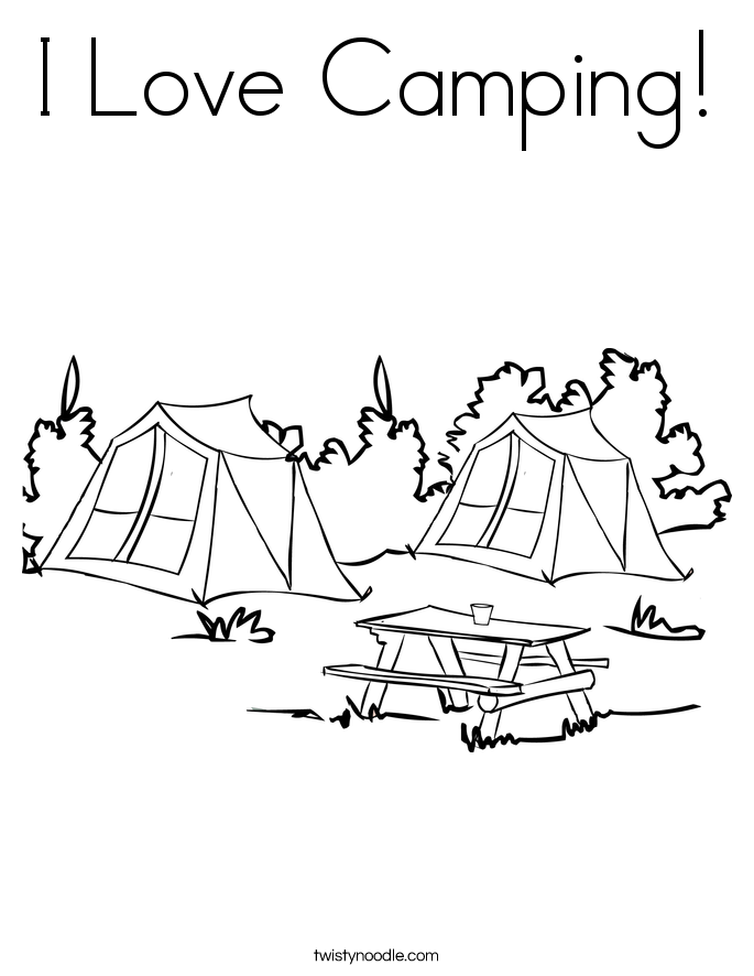 I Love Camping! Coloring Page
