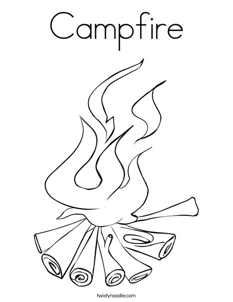 Campfire Coloring Page Twisty Noodle