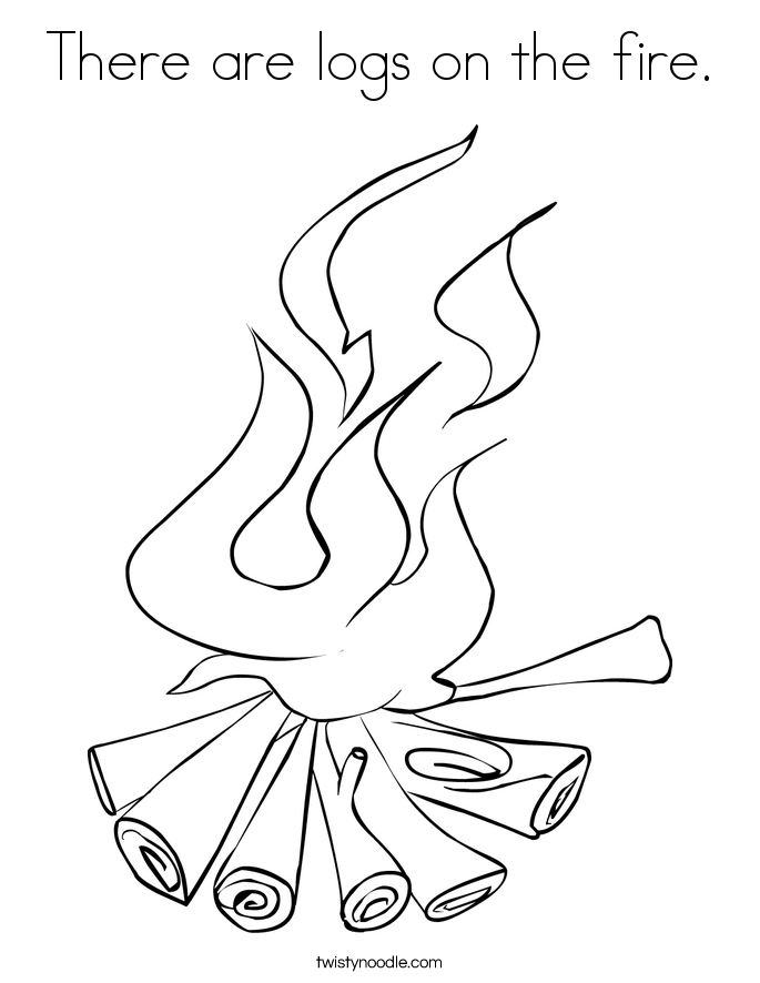 There are logs on the fire. Coloring Page
