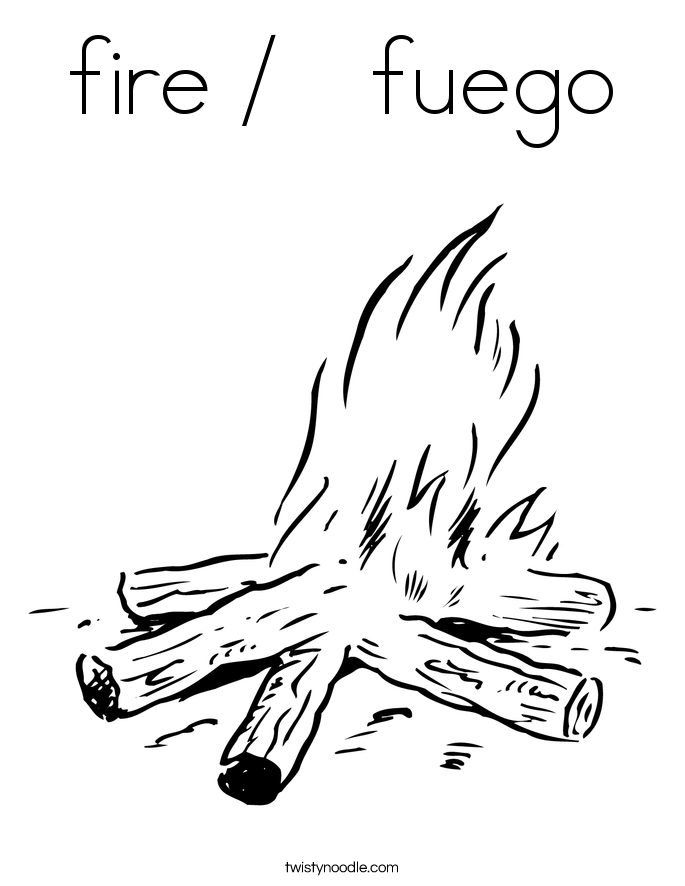 fire /   fuego Coloring Page