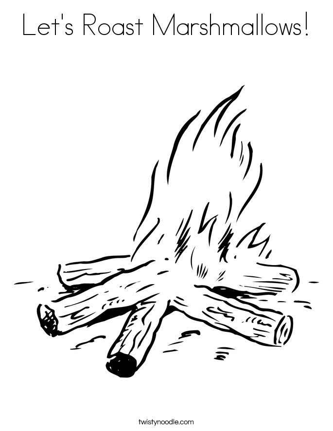 Let's Roast Marshmallows! Coloring Page