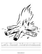 Let's Roast Marshmallows Handwriting Sheet