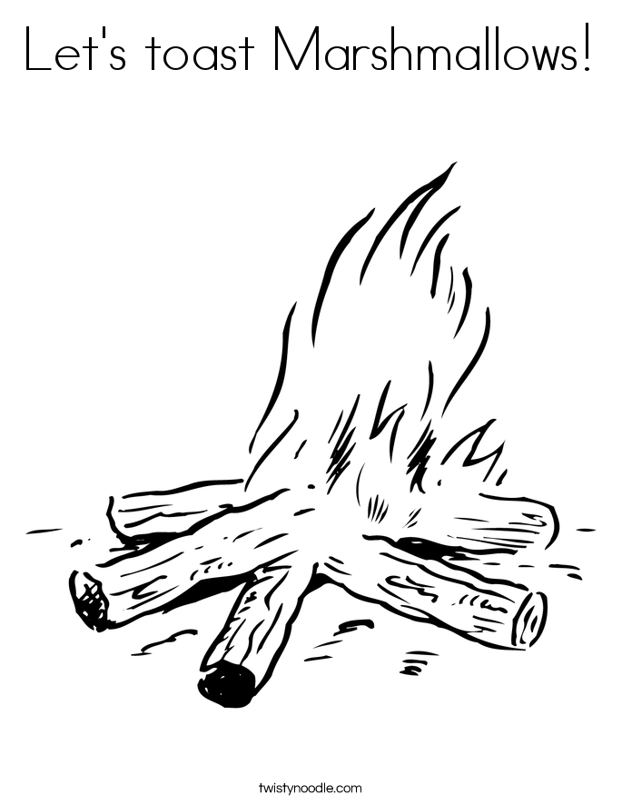 Let's toast Marshmallows! Coloring Page