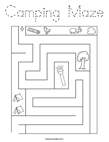 Camping Maze Coloring Page
