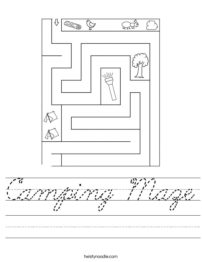 Camping Maze Worksheet