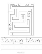 Camping Maze Handwriting Sheet