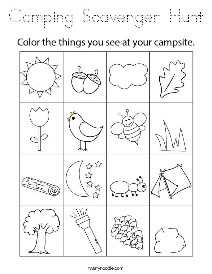 Camping Scavenger Hunt Coloring Page