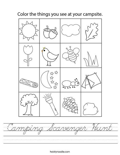 Camping Scavenger Hunt Worksheet