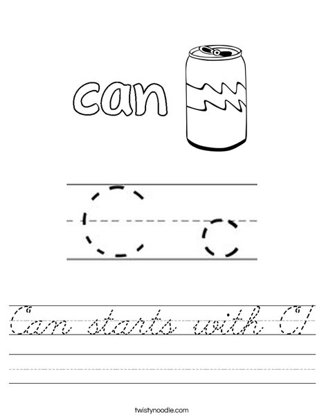 Can starts with C! Worksheet