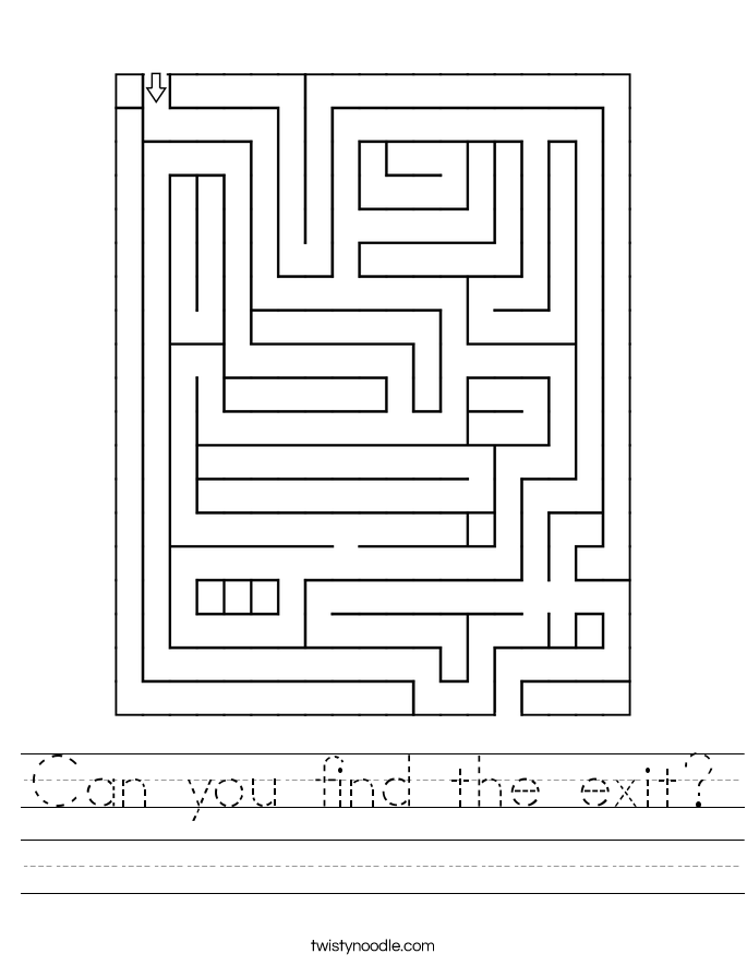 Can you find the exit? Worksheet
