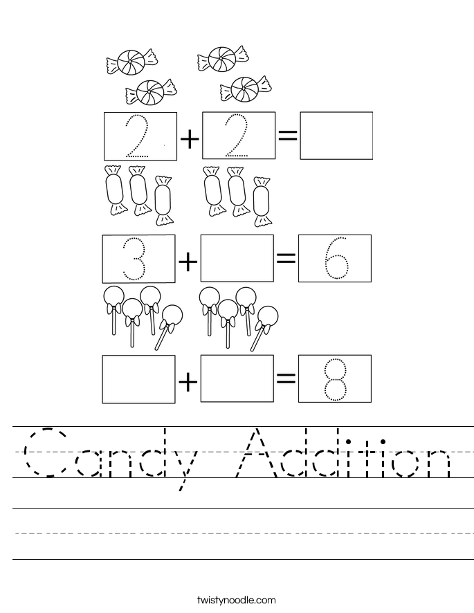 Candy Addition Worksheet