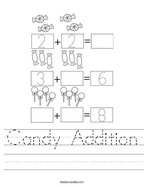 Candy Addition Handwriting Sheet