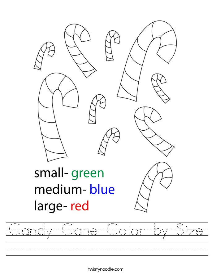 Candy Cane Color by Size Worksheet